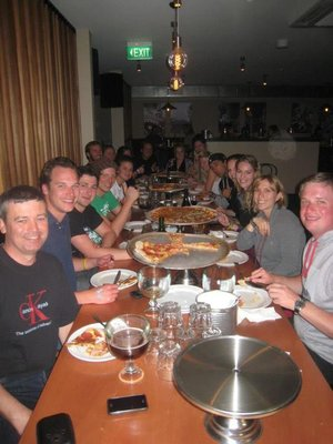 All you can eat Pizza Night with my Magic Bus crew in Queenstown (I'm first on the left)