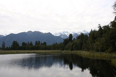 The famous mirror reflection of the mountains on Lake Matheson; unfortunately it was not at its best while we there but still impressive none the less
