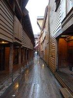 Long narrow alleyway between the old timber warehouses of Bryggen