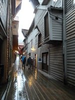Another view of the long narrow alleyways between the Bryggen's UNESCO listed old timber warehouses