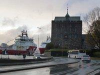 The 2 new oil rig supply ships moored up by Bergenhus Festning (Bergen Castle)