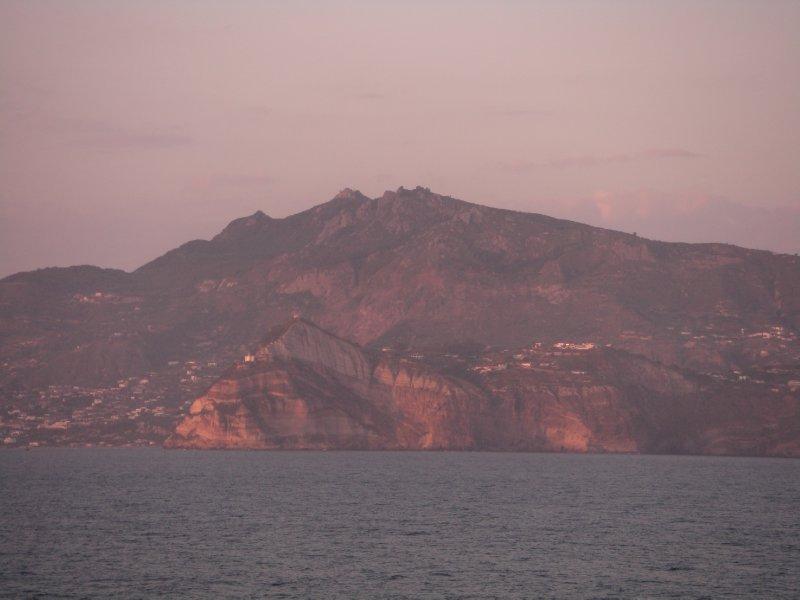 Passing Ischia in the sunset