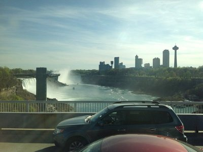 Photo from the Rainbow Bridge going into Canada -first sighting of Niagara Falls