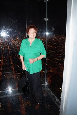 Julie standing on the Sky Deck 103 floors up -Willis Tower