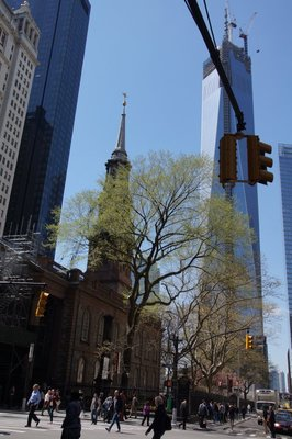 One World Trade Centre nearly complete with St Paul's Church on left