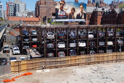 Car Parking New York style... - How do they get them up there?