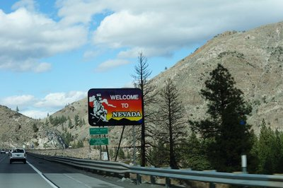 Welcome to Nevada sign on Highway 80.