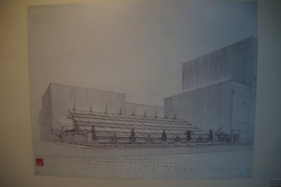 Frank Lloyd Wright drawing for Usonian House and Pavilion