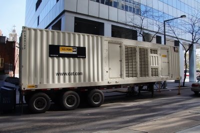 Generator trailers still used in buildings being restored after Super Storm Sandy
