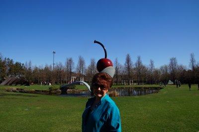 Minneapolis Sculpture Garden with Spoonbridge and Cherry on Julie's head