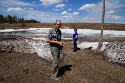 Philip daring Julie to take a dip at Bear Lodge - elevation 7300 feet