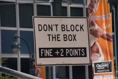 Street signs - don't block the box 1