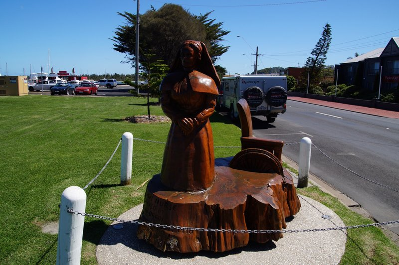 One of many tree sculptures from a grove planted to commemorate World War 1 in the Main Street of Lakes Entrance