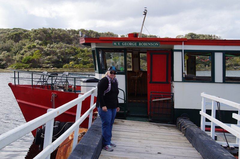 Colleen ready to board the MV George Robinson - 5.5m boat designed on last century river boat
