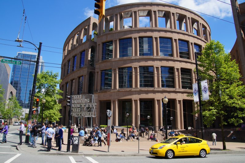 Corner view of Vancouver Public Library on Library Square