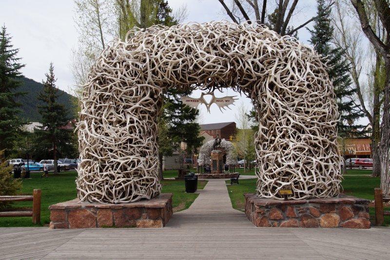 Jackson public artwork -  elk horn arches