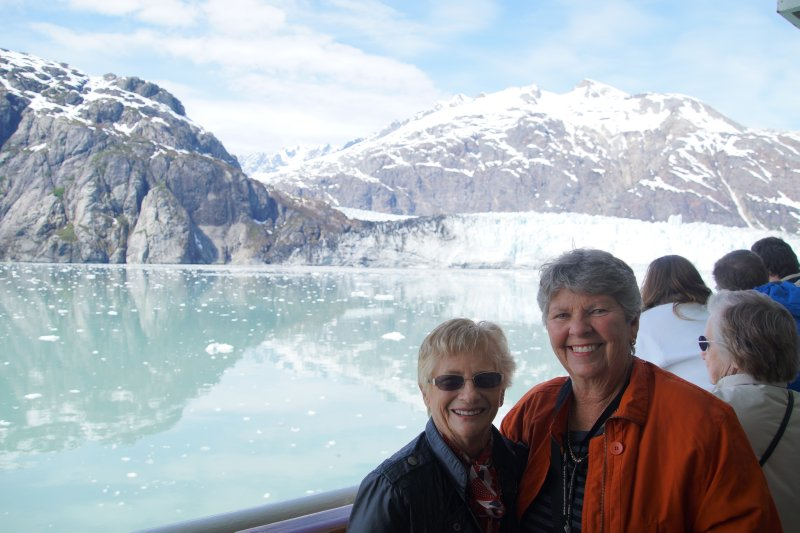 Joan and Marie at  Margerie Glacier, Glacier Bay