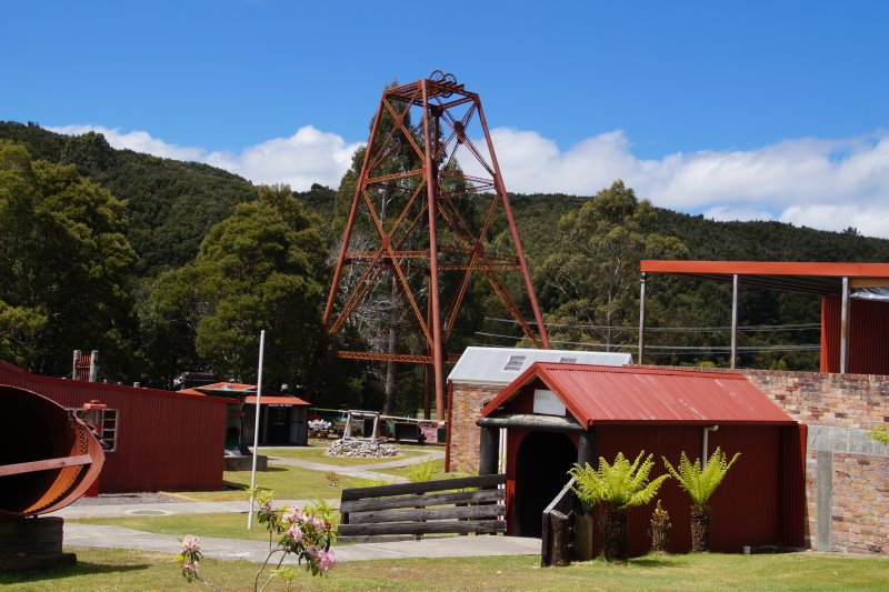 Mining machinery at rear of Zeehan Pioneers Museum
