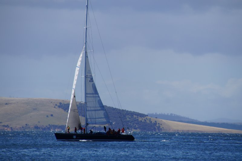 Nikata at finish line of Sydney to Hobart Yacht Race