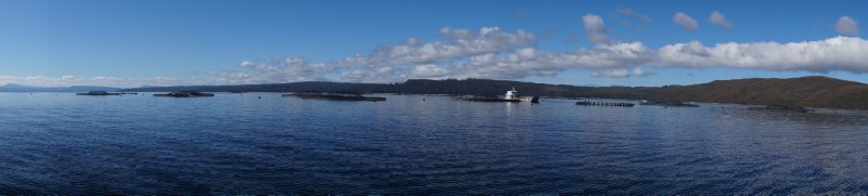 Panorama of Petuna Fish Farm, Macquarie Harbour (4)