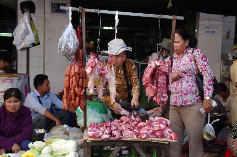 Marché à Phnom Penh au Cambodge