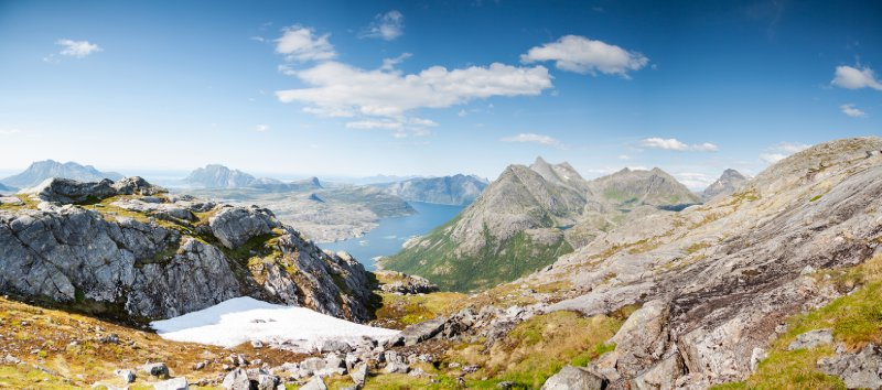 A view of mountains and fjords in Norway