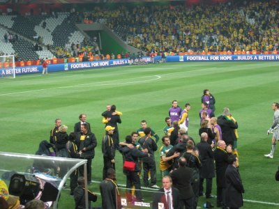 The socceroo family commiserating