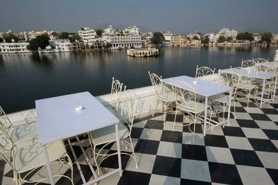 Dining terrace with a view, Jagat Niwas Palace Hotel, Udaipur, Rajasthan