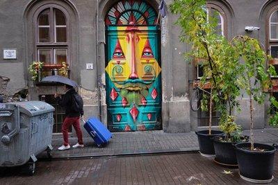 Painted doorway, Budapest