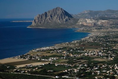 View of the coast on the road from Segesta to Erice