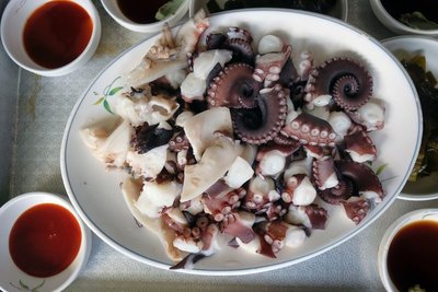 Freshly caught and prepared octopus