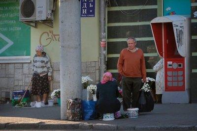 Ladies selling flowers, Lutsk