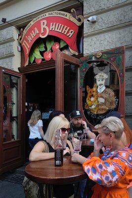 Sipping sour cherry liquor, Lviv