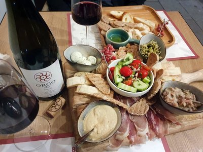 Mezzo platter and fine red at 8000 Vintages, wine shop and restaurant