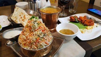 Vegetable biryani, chicken tikka and dal at Gandhi Indian restaurant