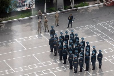 View of daily training at the Ministry of Defense, from the kitchen window