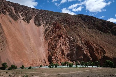 Red rock formations on the Kokemeren River near Kyzyl-Oi
