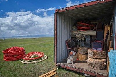 Setting up a yurt camp at Song-Kol Lake