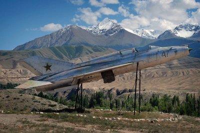 Soviet MIG on display near Tamga village, Lake Issyk Kul,