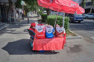 Assorted fermented beverages for sale on the street