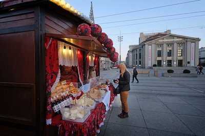 Vendor selling holiday sweets, Katowice