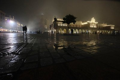 Misty night on Krakow's Main Square