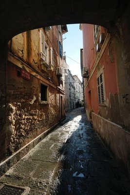 Narrow streets off the main square in Piran