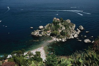 View of Isola Bella from Taormina