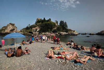Taormina Beach with Isola Bella behind