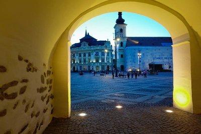 Entering the main square in Sibiu