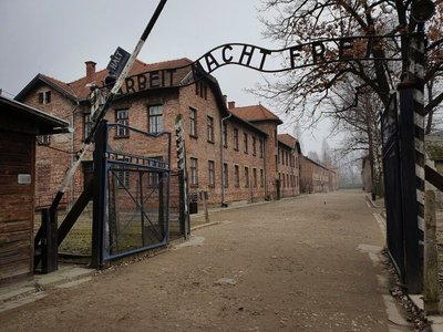 Entrance gate Auschwitz, Oświęcim, Poland