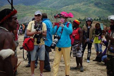 Tourists at the Baliem Festival near Wamena, Papua