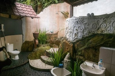 and an outdoor bathroom with waterfall shower