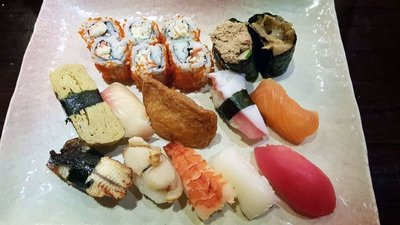 Sushi, sometimes twice a day, at Sushitei restaurant, Medan